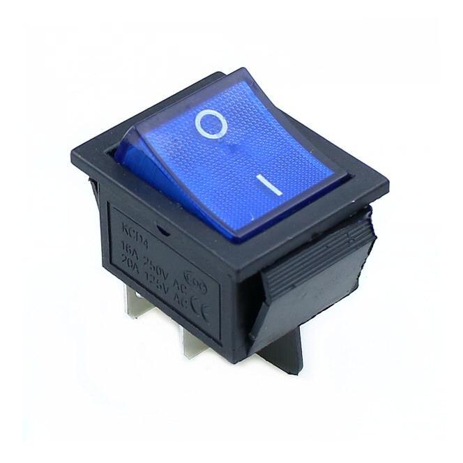 KCD4 кулисный переключатель ВКЛ-ВЫКЛ 2 положения 4 контакта/6 контактов электрооборудование с светильник выключатель питания 16A 250VAC/20A 125VAC - Цвет: blue