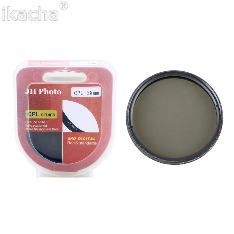 58mm Circular Polarizing Polarizer CPL Filter For Canon EOS 700D 650D 600D 550D 100D 1200D 7D 70D 60D 5D Mark I II 18-55mm Lens canon eos 650d kiss x6i dslr camera w 18 55mm ii is lens kit