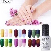 HNM 8 мл термальный Факс мех эмаль Гибридный лак полуперманентное тиснение гель лак для ногтей 12 цветов Изменение цвета верхнее основание