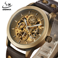 SHENHUA Mechanical Watch Men Skeleton Automatic Self Wind Watches Antique Bronze Retro Leather Wristwatch Male Relogio Masculino