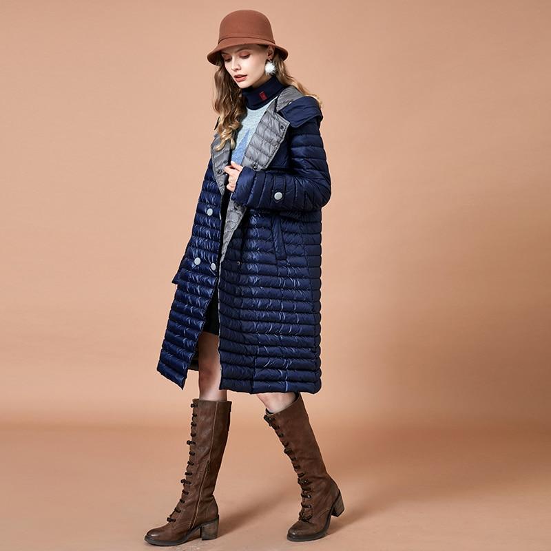 ARTKA 2018 otoño e invierno las mujeres larga a rayas 90% pato blanco cálido abrigos Breasted doble con capucha delgada Parkas YK10585D