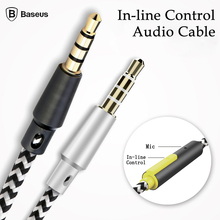 Baseus Male To Male 3.5mm To 3.5mm Jack Audio Aux Auxiliary Cord Cable with Mic For Car iPhone 6 6S Earphones Headphones Speaker