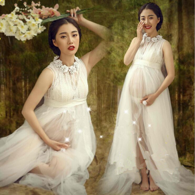 Royal Style White Maternity Lace Dress Pregnant Photography Props Fancy  Pregnancy Maternity Photo Shoot Long Dress Nightdress In Dresses From  Mother U0026 Kids ...