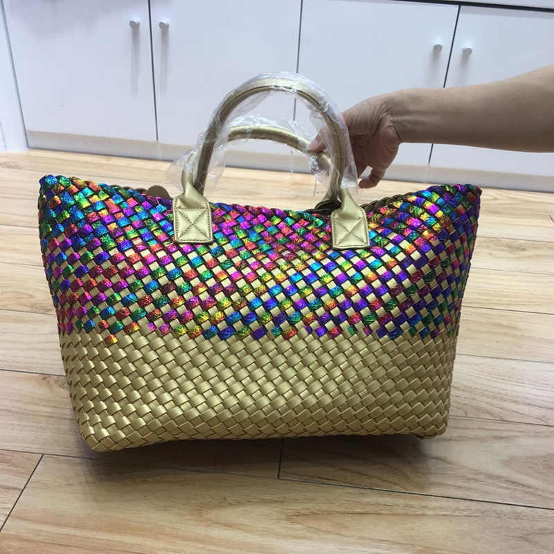 Модная сверкающая Радуга с золотым плетением кожаная сумка женская большая емкость Хобо Вязание серпантин сумка большие повседневные сумки