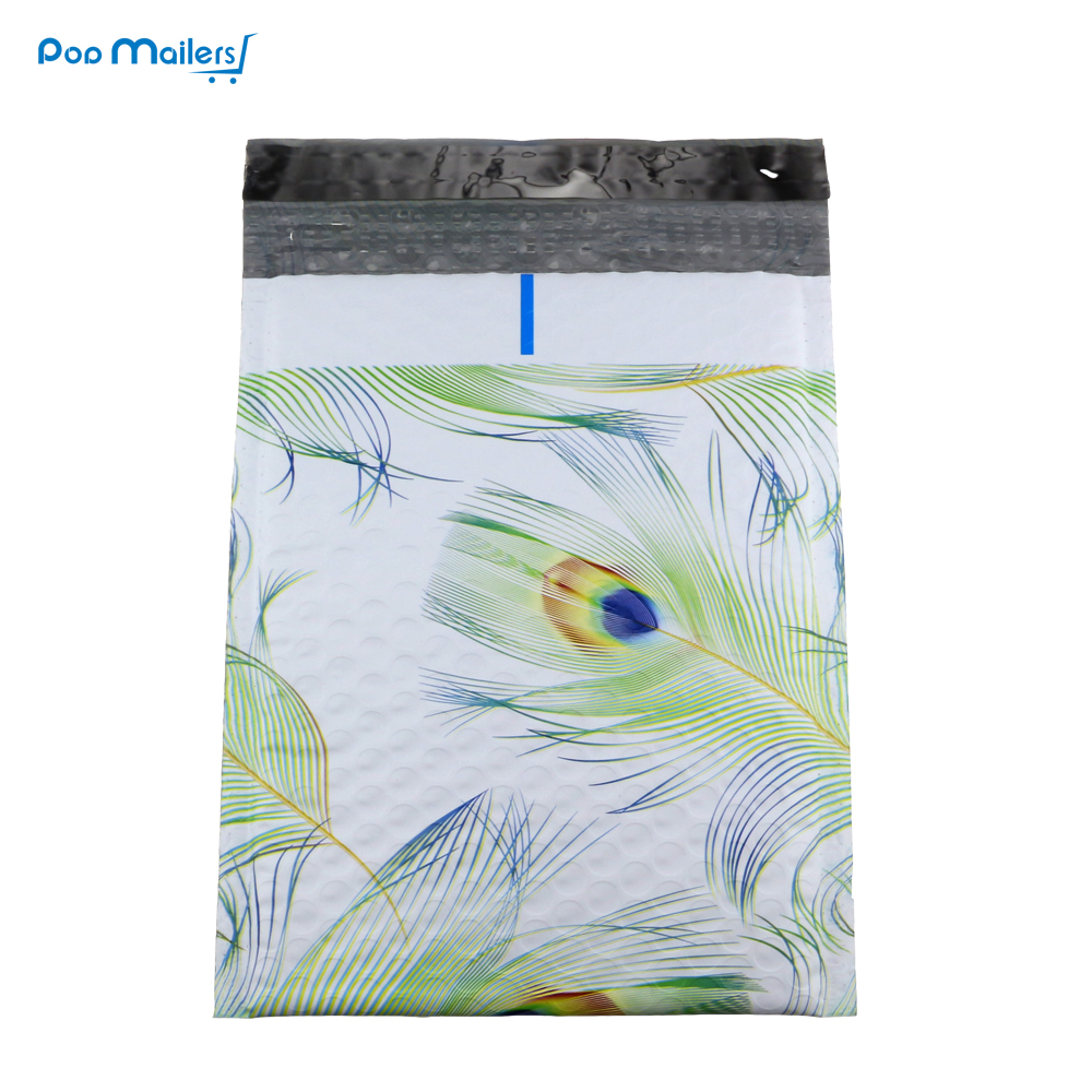 25pcs 185*228mm 6.5*9inch Blue & Green Peacock Designer Poly Bubble Mailers Bubble Shipping Envelopes