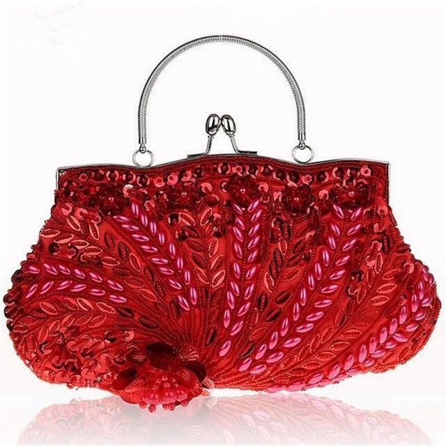 Luxury Beaded Sequined Flower Evening Bag Women Vintage Fashion Wedding Bride Clutch Bag Casual Chain Shoulder Bag Bolso H272