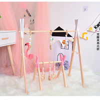 Nordic Style Baby Gym Wood Play Nursery Sensory Ring pull Toy Wooden Frame Infant Room Toddler Clothes Rack Gift Kids Room Decor