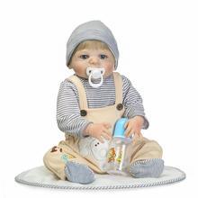 bebe reborn boy NPK 55CM Soft Silicone Reborn Baby Doll Girl Toys Lifelike Babies Boneca Full VInyl Fashion Dolls Menina 2017 недорого