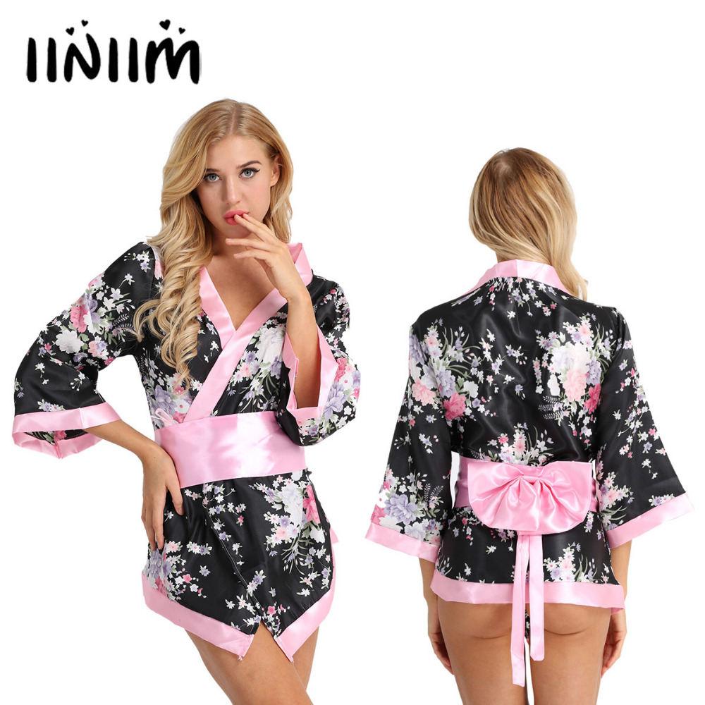 3Pcs Women Japanese School Girls Kimono Cosplay Costume Short Lingerie Robe Satin Floral Dress with Bowknot Waist Belt