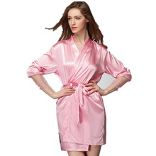 2017 Sexy Women Nightwear Robes Faux Silk Lace Real Silk Female Bathrobes Pink/Black/Red/Champagne(China)