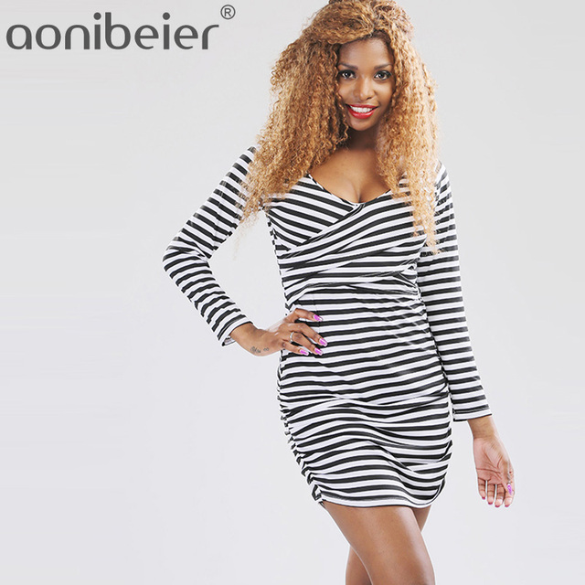 3421e23999da Aonibeier Size S-XL Spring Autumn Long Sleeve Striped Dress Fashion Wrap  Front Ruched Side Mini Dress Women Bodycon Dress