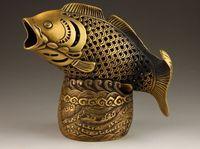 China latão cobre riqueza moeda cabeça de peixe estátua caixa incenso queimador incenso