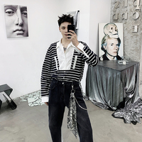 Men before short after long personality loose Hong Kong style male striped long sleeve shirt t shirt Korean fashion handsome.