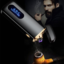 Fingerprint Touch USB Electronic Lighter Double Arc Plasma Electric Cigarette Windproof Cigar Smoking Pipe Metal