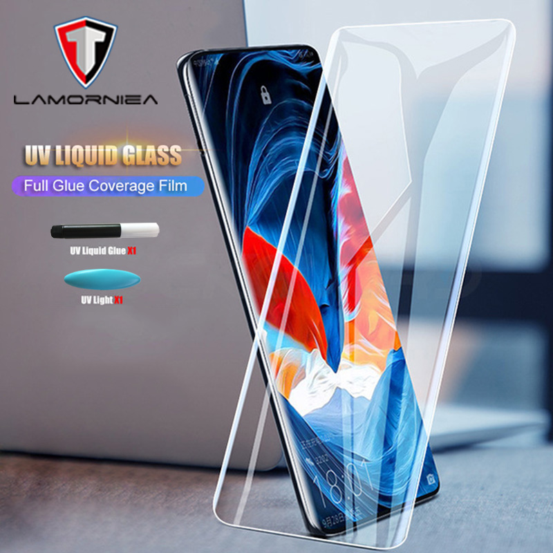 UV Liquid Full Glue Tempered Glass For OnePlus 7 Pro Screen Protector Huawe P30 P20 Mate 20 30