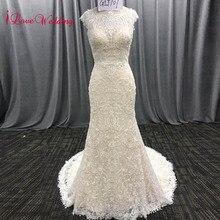 Ilovewedding 긴 보헤미안 스타일 자수 레이스 인어 웨딩 드레스 boho bridal gowns vestidos de noiva de luxo 2018