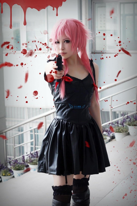 Dress up yuno gasai - The Future Diary Gasai Yuno Black Dress Anime Cosplay Costume Custom Any Size China