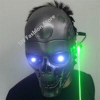 T11 зеленый лазер маски с подсветкой бальных танцев лазерной костюмы DJ Бар Хэллоуин маска бар косплей светодио дный очки свет Бальные носит