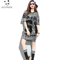 Summer New Fashion Europe America Street Corner Punk Style Sequins Loose Letter O Neck Half Sleeve