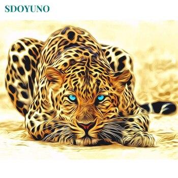 SDOYUNO Рамка DIY Набор для рисования по номерам леопардовых животных краска по номеру ручная роспись уникальный подарок живопись и каллиграфия...