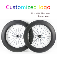 Customized 700C 88mm Road Bike wheels Carbon Fiber 23mm width Clincher Tubular Road Bicycle Carbon wheelset with Basalt Brake