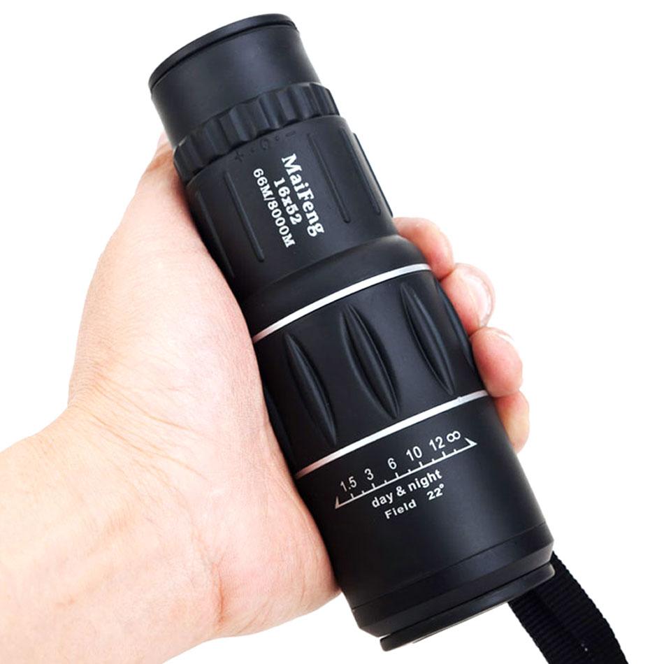 Hunting Monocular Binoculars 16x52 Telescope Night Vision Dual Focus Telescopio 16x Zoom Field Sports With Mirror Cover MaiFeng