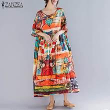 Talla grande ZANZEA mujer Vestido estampado verano manga corta Vestido de verano Mujer Vintage suelto Casual Maxi Vestido de mujer largo Vestido