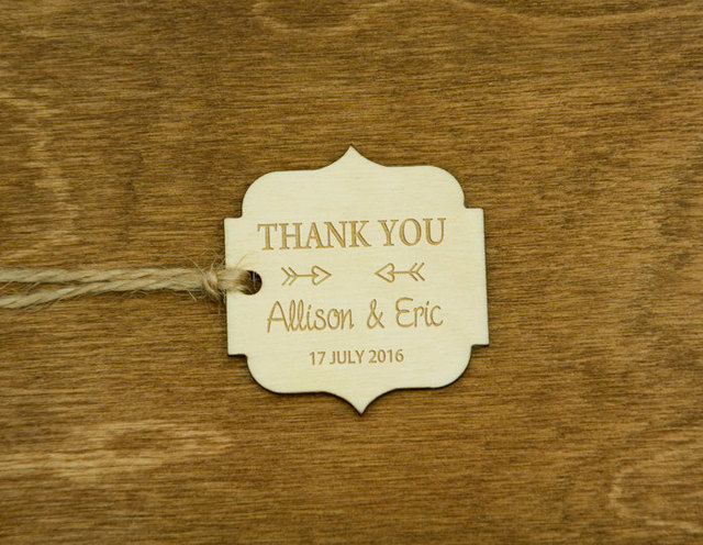 Custom Wooden Thank You Tag With Name Rustic Wedding Favor Tags Personalized Gift