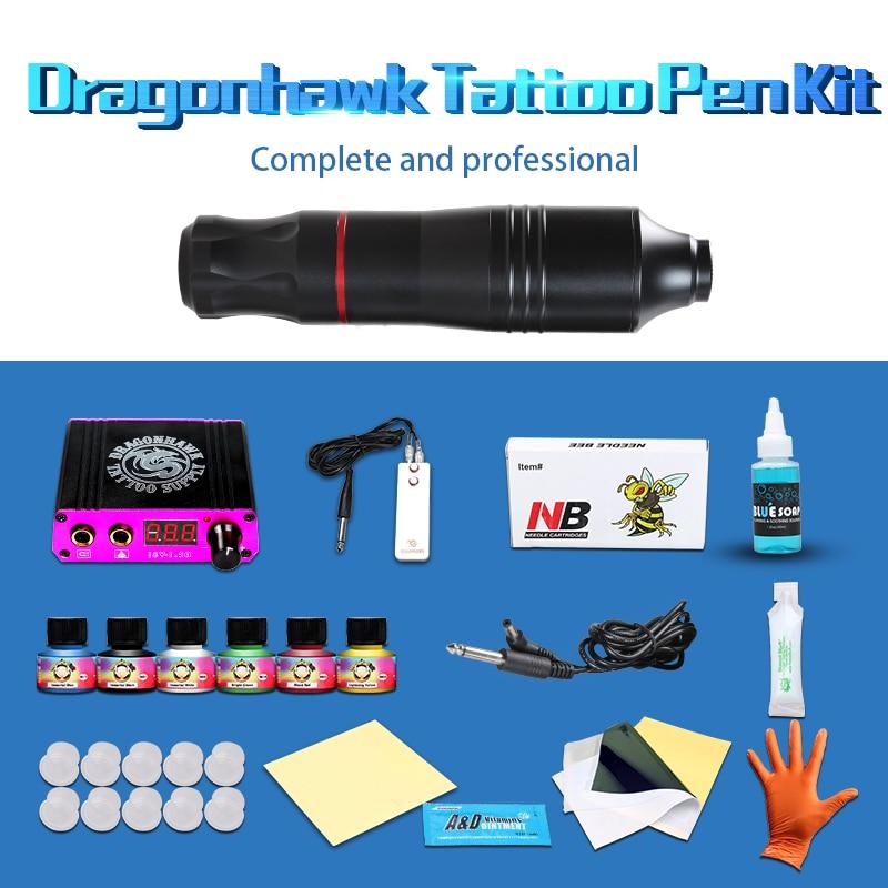 Professionnel Rotatif Stylo De Tatouage Kit 6 Couleur Immortel De Tatouage Encres Ensemble LCD Mini Puissance Équipement Fournitures