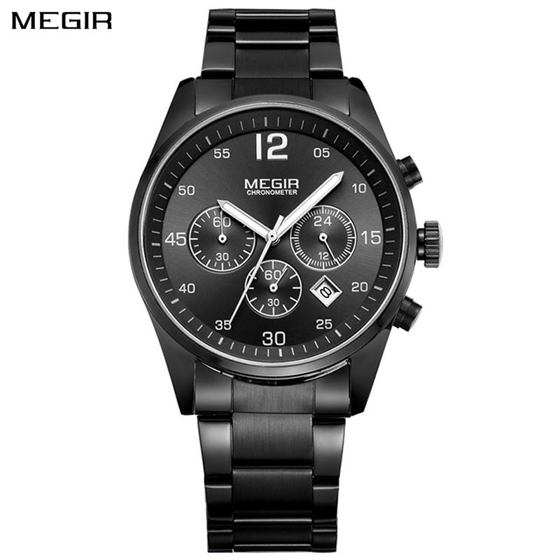 <font><b>MEGIR</b></font> Top Brand Men Watch Fashion Chronograph Military Quartz Watch Stainless Steel Business Wrist Watch Relogio Masculino <font><b>2010</b></font> image
