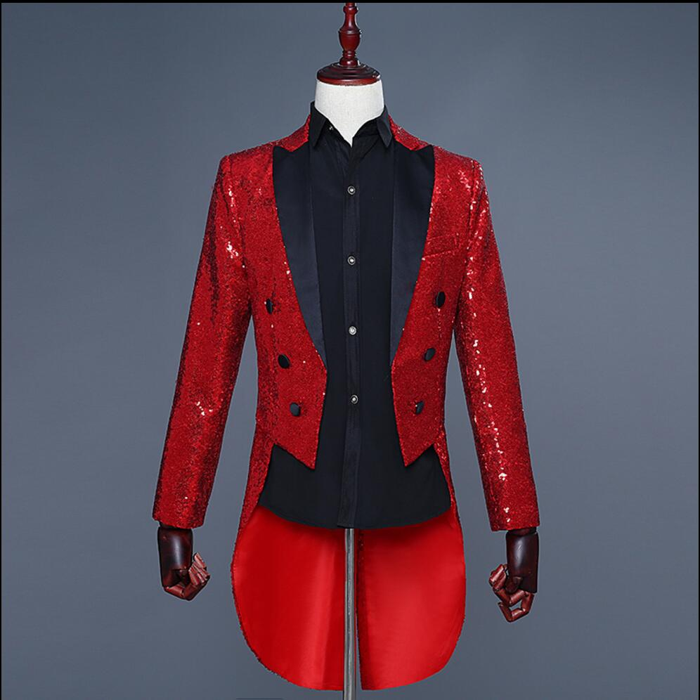 Men Sequined Tuxedo Stage Performance Suit Dress Magician Jacket Nightclub Bar Hosted The Vocal Choir Service Singer Costumes