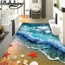 beibehang 3 d flooring painting dolphin self - adhesive wall sticker Beach sand shell dolphin starfish Custom 3d flooring mural