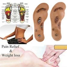 1 para utrata masy ciała terapia magnetyczna wkładki do butów łóżko do masażu poduszki utrata masy ciała pielęgnacja stóp brązowy przezroczysty wkładki krzemu tanie tanio Silikon S EU(35-40) L EU(40-45) Brown Transparent