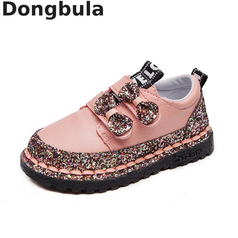 New Children's Casual Shoes For Girls Fashion Sequins Leather Princess Shoes Students Outdoor Sports Soft Bottom Running Shoes