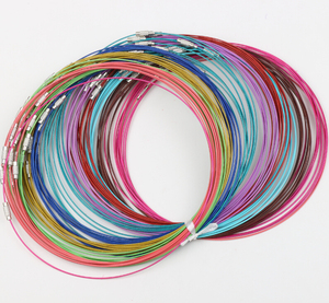 """Image 1 - Novo 100 pçs misturados multi cor de aço inoxidável fio cabo colares cadeias jóias 18 """"longth jóias diy"""