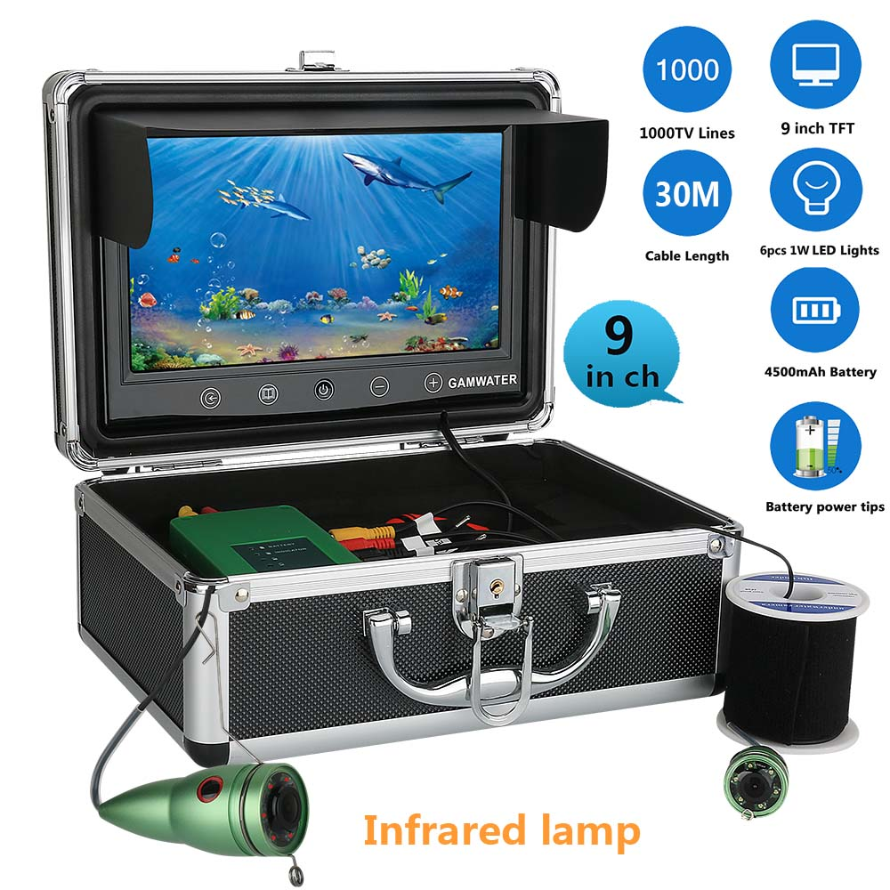9 30M Touch Screen Infrared Lamp Lights Adjustment Underwater River Sea Boat Fishing Camera Fishfinder Waterproof Night Vision