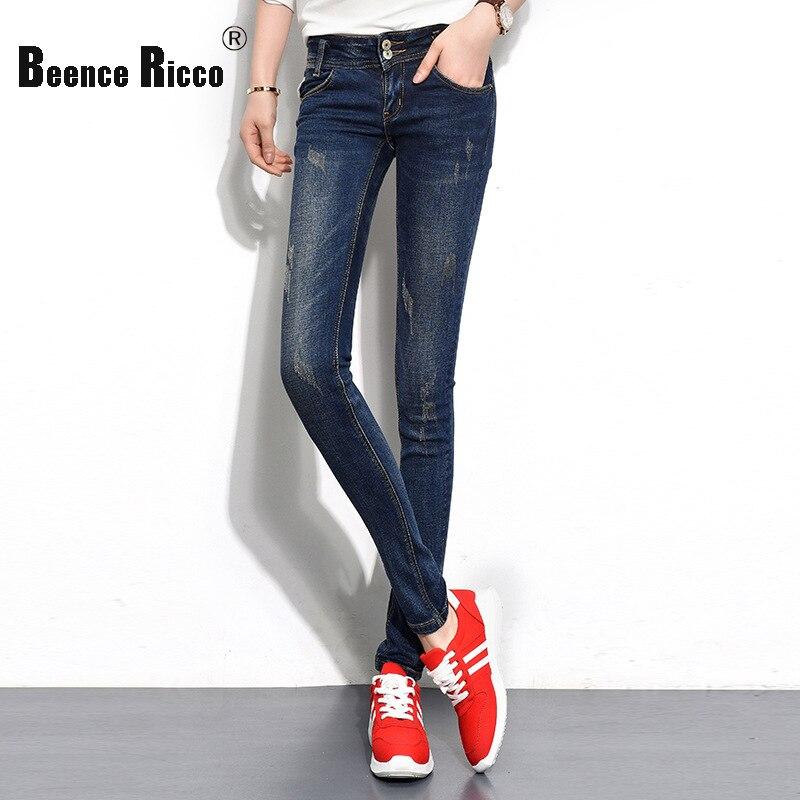 ФОТО New fashion spring winter mid waist jeans women denim cotton plus size slim long skinny pants four seasons elastic trousers W126