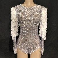 Sparkly Rhinestones Pearls Bodysuit White Flowers Women Birthday Celebrate Stage Singer Dance Costumes DJ Show Nightclub Leotard