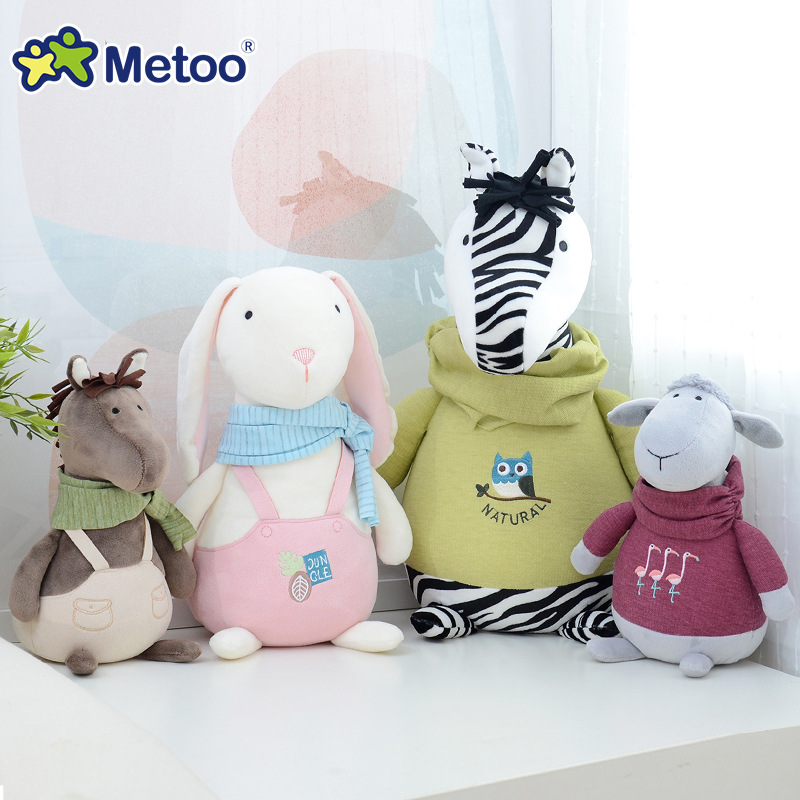 Kawaii Plush Stuffed Animal Cartoon Kids Toys for Girls Children Baby Birthday Christmas Gift Zebra Sheep Rabbit Metoo Doll