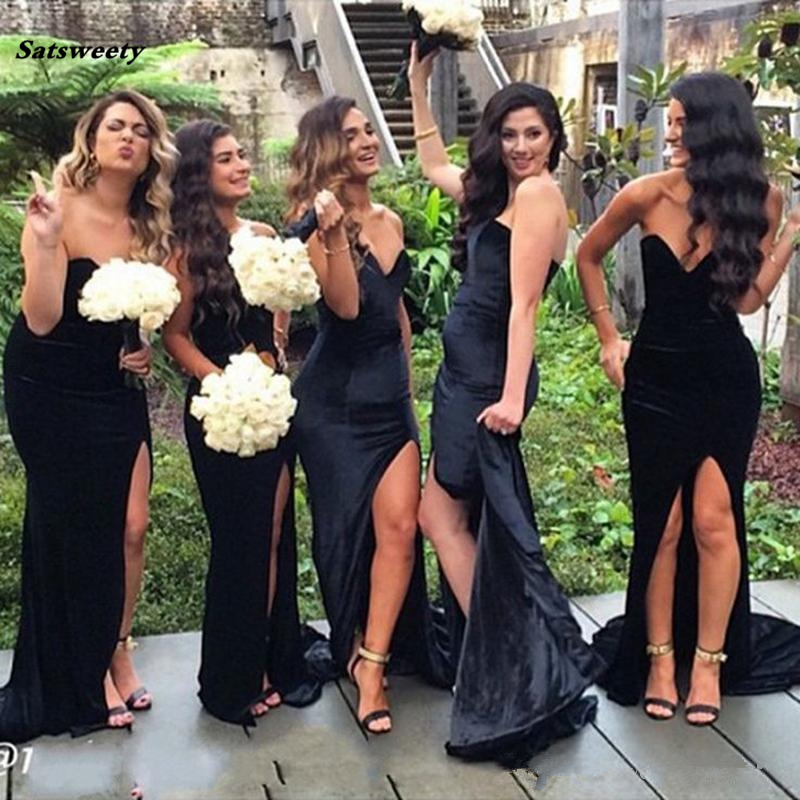 Us 72 16 18 Off Black Long Bridesmaid Dresses 2019 Mermaid Sweetheart Backless Sexy High Slit Long Formal Dresses Maid Of Honors For Wedding In