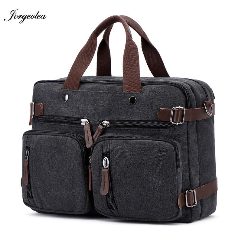 Jorgeolea Briefcase Business-Handbag Canvas Satchel Male Men E0227 Dual-Purpose-Bag Hand-Pack