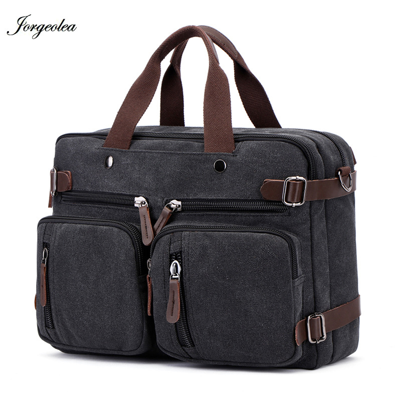 Jorgeolea Men Canvas Multi-functional Briefcase Business Handbag Male Hand Pack Dual-purpose Bag Satchel E0227