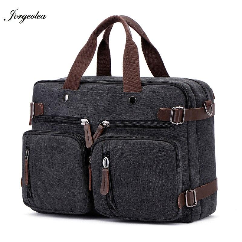 Jorgeolea Men Canvas Multi-functional Briefcase Business Handbag Male Hand pack Dual-purpose Bag Satchel E0227