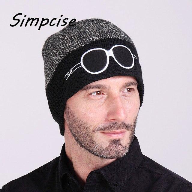 Simcise зимние шапочки Skullies для мужчин шляпы уникальный Дизайн Повседневное Кепки толстый вязаный очки шляпа капот крышка для мужчин шапочка h7005