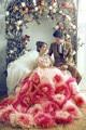 Крупные цветы фотографии платье 150 см длинный шлейф романтические фэнтези европейский классический ну вечеринку платье для беременных для свадьбы