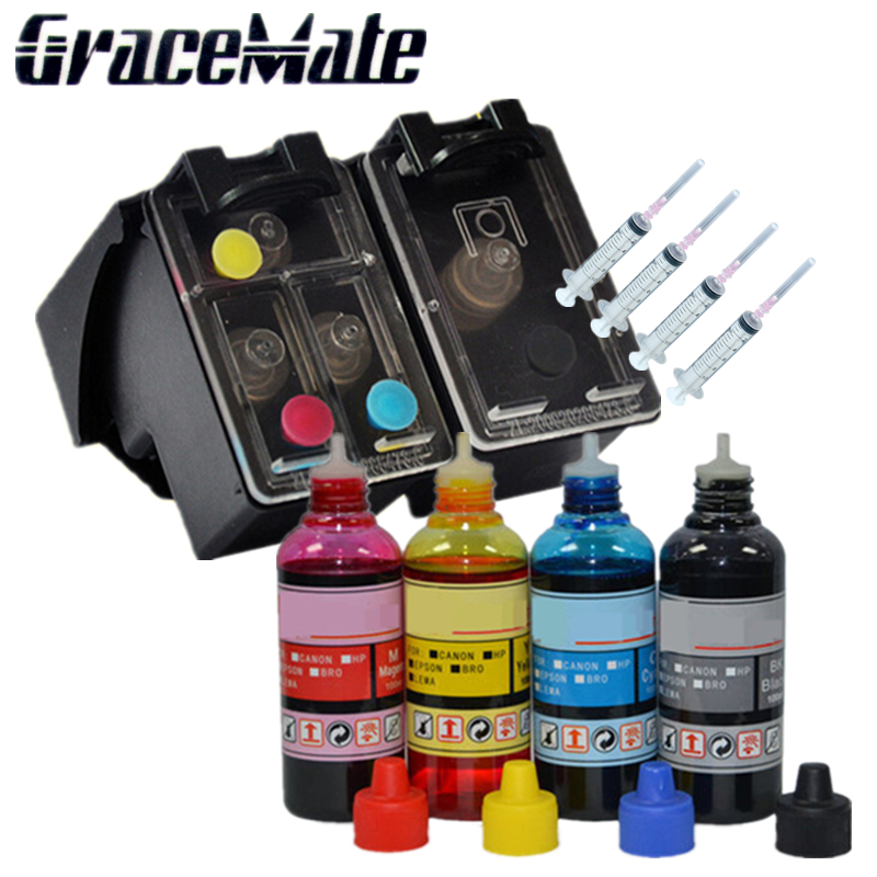 US $59 66 8% OFF|123XL refillable Ink cartridge replacement for hp123 xl  +400ml refill ink for Deskjet 1110 1111 1112 2130 2132 3630 3632 Printer-in