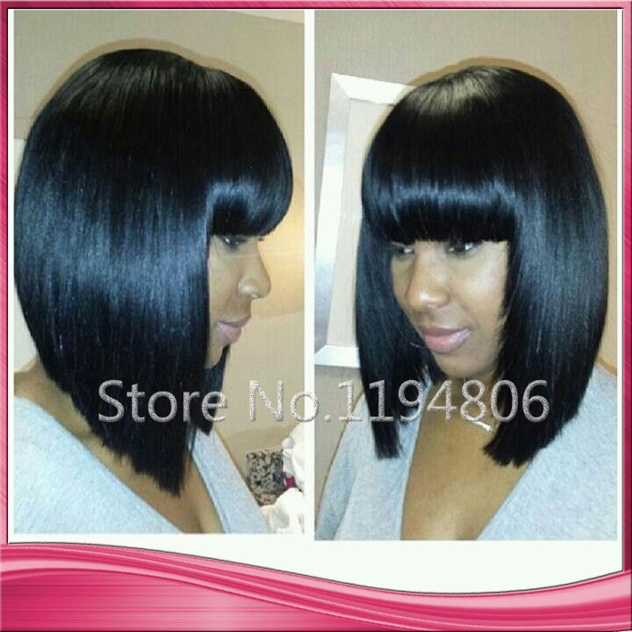 Free shipping lace front human hair bob wig with full bangs for ...
