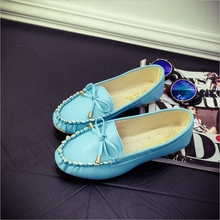New 2016 Women s Loafers Shoes Lady Flats Round Toe Bowtie Women Flats Ballerina Shoes Chaussure