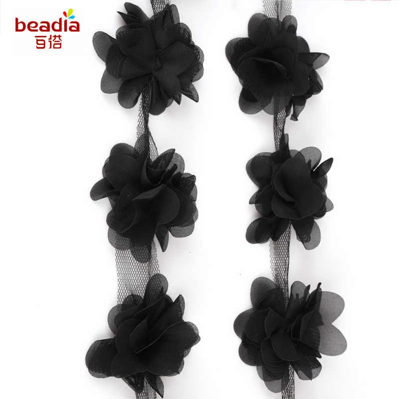 أسود 1 ياردة 12 قطعة الزهور 3d الشيفون العنقودية زهرة فستان الدانتيل أغطية الرأس الديكور الدانتيل النسيج زين التشذيب الخياطة المورد