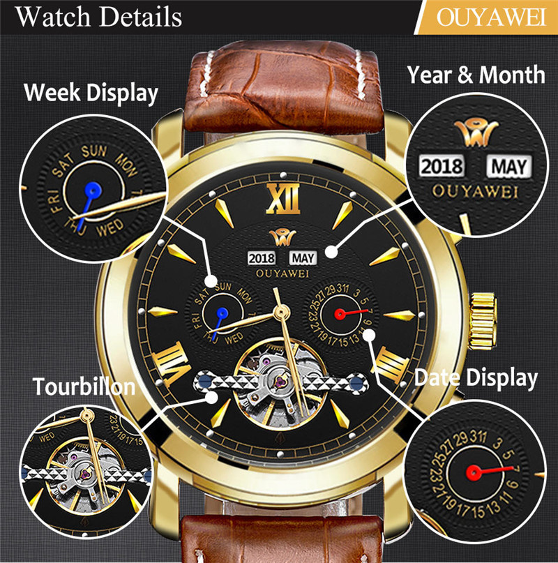Mechanical Watch Mens Top Men\`s Automatic Mechanical Watches Wristwatch Leather watch relogio masculino (3)